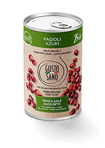 GUSTO SANO FAGIOLI IN SCATOLA AZUKI BIOLOGICI. Senza Sale Aggiunto - Fagioli in scatola reidratati e lessati – NON OGM – Comoda scorta da 6 confezioni x 400 gr.