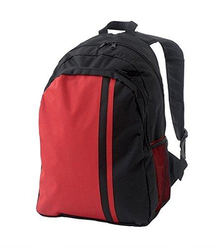 Sac à dos en toile nylon 44 x 30 x 19 cm de couleur Noir/rouge - Visiodirect -