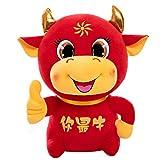 Ablerfly Año Nuevo Chino Animal Felpa Rojo Ganado muñeca Vaca muñeca de la Suerte...