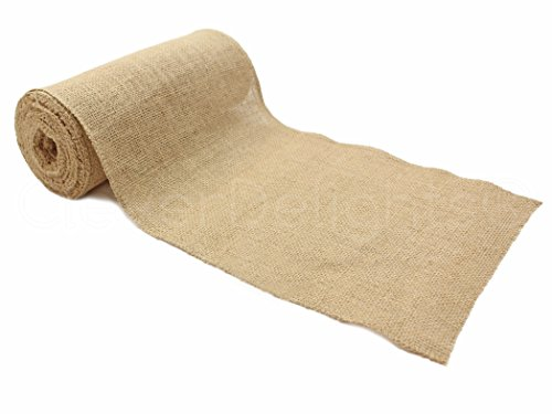 """CleverDelights 9"""" Premium Burlap Roll - 10 Yards - No-Fray Finished Edges - Natural Jute Burlap Fabric"""