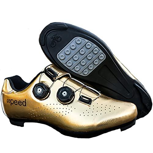 AGYE Zapatos Ciclismo Hombres,Calzado de Ciclismo Antideslizante,Calzado de Goma Transpirable para Bicicleta de Montaña y Carretera para Mujer, Calzado Deportivo Asistido,Gold(Rubber)-41