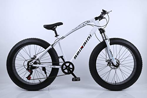 Bicicleta Fat Bike 26' 21 velocidades Shimano Bike montaña Nieve Playa Alto Acero Al Carbono Muy Ligera (Blanco)