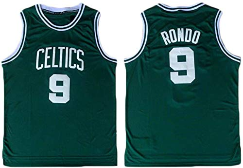 Hombres Jerseys-NBA Boston Celtics # 9 Rajon Rondo Camiseta De Baloncesto Sin Mangas Camiseta Deportiva, Malla De Tela Transpirable,A,S(165~170CM/50~65KG)