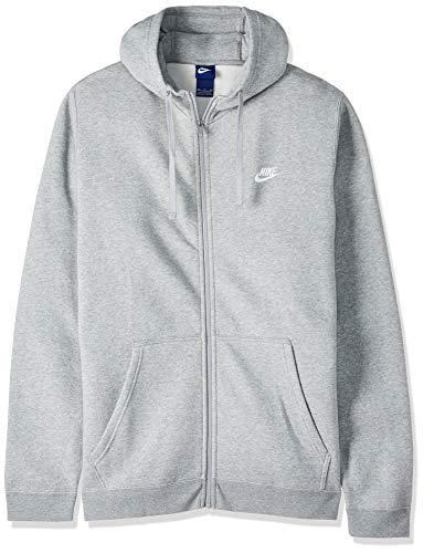 Men's Nike Sportswear Club Full Zip-Up Hoodie, Fleece Hoodie for Men with Paneled Hood, Dark Grey Heather/Dark Grey Heather/White, M