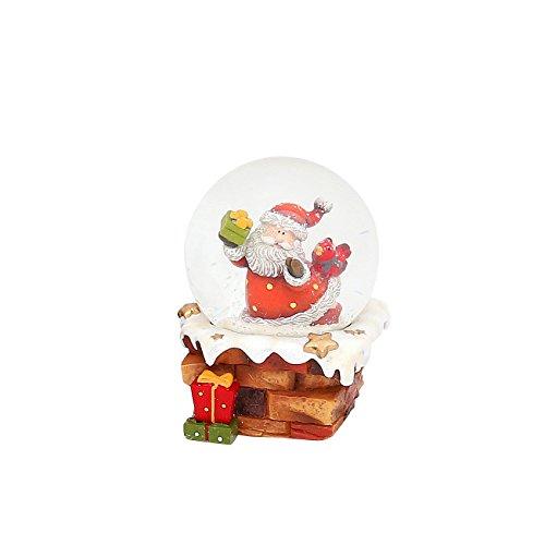 Dekohelden24 Kleine Schneekugel mit Weihnachtsmann auf Schornstein, L/B/H 7 x 7 x 9 cm Kugel Ø 6,5 cm.