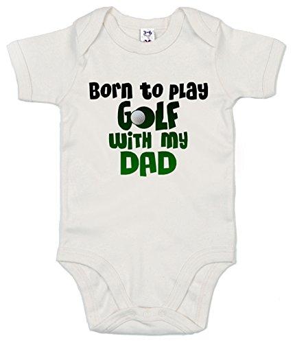 Dirty Fingers, Born to Play Golf with My Dad, Body unisexe pour bébé - Blanc - XXXXXS