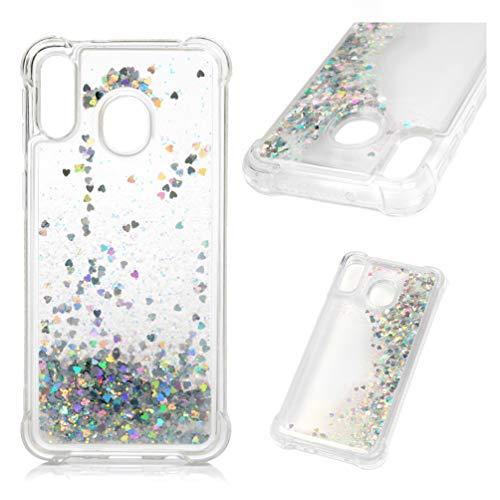 MUSESHOP Funda para Samsung Galaxy M20, Purpurina Líquida Que Fluye Cubierta Brillante Carcasa Liquida Cristal TPU Gel Fina Arenas Movedizas - Amor de Plata Colorido