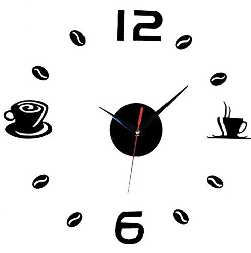 Aliciashouse Reloj de Pared Grande DIY Wall Sticker Reloj café té Taza número Reloj Home Decor de Cafe-Negro