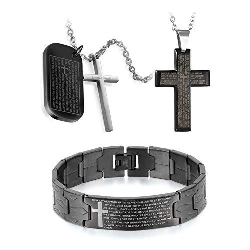 Flongo Men's Vintage Stainless Steel Black Cross Silver English Bible Lords Prayer Religious Link Wrist Bracelet for Christmas Thanksgiving New Year Gift (Set 1)