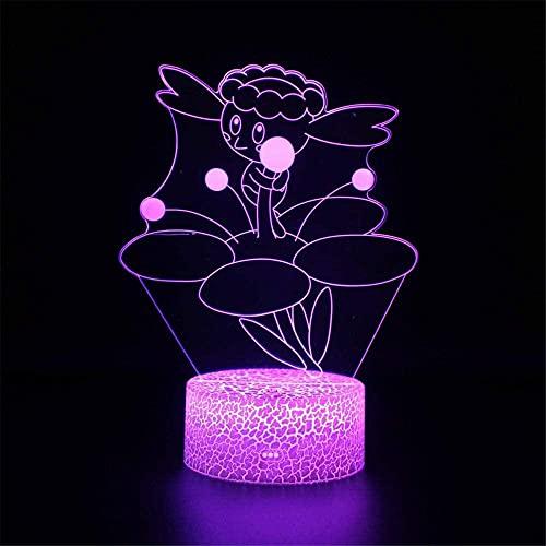 Flabébé - Lámpara de noche para niños con ilusión óptica 3D, 16 colores regulables, con control táctil con base de grietas, mando a distancia para niños y niñas