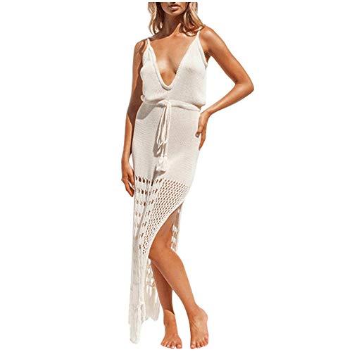 RKWEI Damen Kleider Frauen Sexy Deep V-Neck Weiß Kleider Leibchen Sommerkleid Quasten Langes Kleid Lässig Party Lange Kleider Frauen Strandkleid -White_XXL