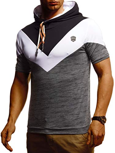 Leif Nelson Herren Sommer T-Shirt mit Kapuze Slim Fit Baumwolle-Anteil Cooles Basic Männer T-Shirt Kapuzenshirt Jungen Kurzarmshirt LN4845 Schwarz Anthrazit Melange Large