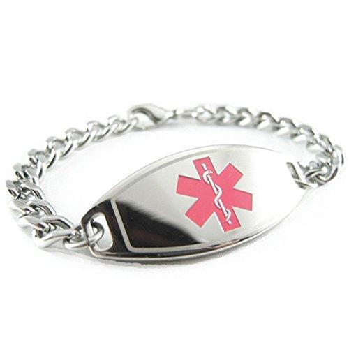My Identity Doctor - Pre-Engraved & Customized Alzheimer's Medical Alert Bracelet, Pink