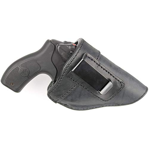 ComfortTac The Protector Leather IWB Holster for J Frame Revolvers Including Ruger LCR, S&W 442 and 642, Taurus, Charter Arms, Rock Island Armory M206, Most .38 Special Revolvers (Black)