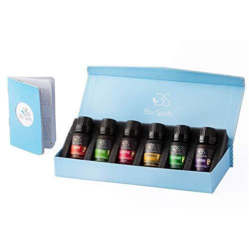 Premium Grade Essential Oils Set - BluSpirits Pack of 6 Therapeutic Grade Oil for Aromatherapy (Lavender, Orange, Peppermint, Eucalyptus, Tea Tree, Lemongrass) (6) with Free Blend Booklet