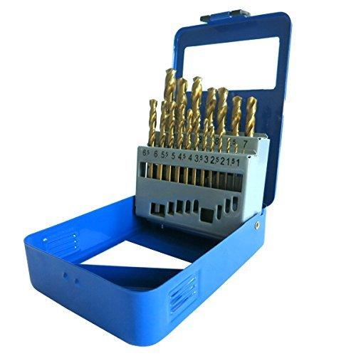 S&R Metallbohrer Set 19 Stk : 1,0-10 mm, 135°, DIN 338, geschliffen, HSS TITANIUM, Nitrit-Titan-Beschichtung, Metallbox. Profi-Qualität