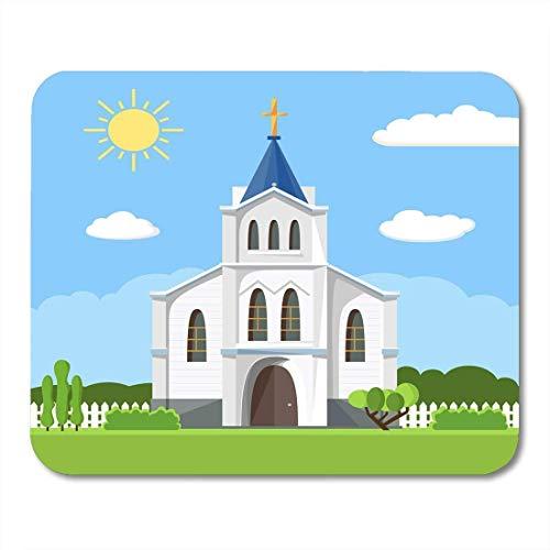 Mauspads kirche für religion architektur cartoon gebäude silhouette mit kreuz kapelle zaun bäume flache sommer mauspad für notebooks, Desktop-computer matten büromaterial