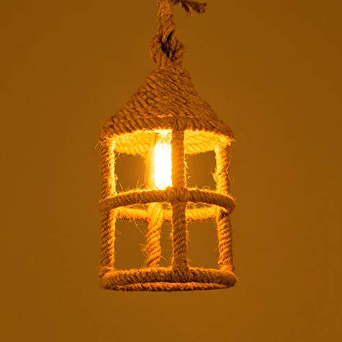Chandelier Agriturismo Vintage round round a soffitto a soffitto a soffitto leggero creativo metallo corda di canapa a sospensione luce retrò industriale E27 lampada a sospensione a soffitto singola l