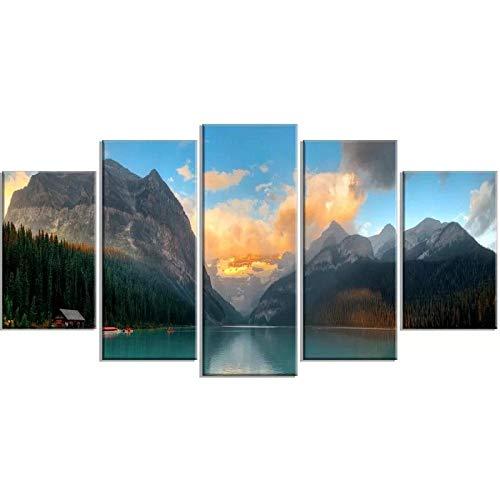 ARIE 5 Piezas Cuadro Parque Lake Louise Sunrise Banff 5 Piezas Impresión En Lienzo Tablero del Moderno Cuadro De Pintura Póster De Arte Sala De Decoración Hogareña