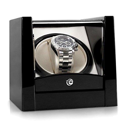 Klarstein Cannes Uhrenbeweger mit flüsterleisem Motor für 1 x Automatikuhr, Black Edition, Vitrinenfenster, Armbandlängen von 170 bis 190 mm, Links-Rechts-Lauf, vorprogrammiert, schwarz