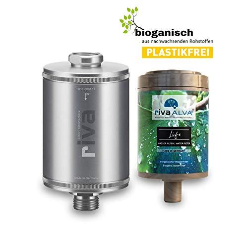 rivaALVA Filter Life Trinkwasserfilter 100{e3b73bd577d2d13748764c60304c495c091415fdde00af1171941e679e2bb506} Bio - Wasserfilter Trinkwasser reduziert Kalk, Chlor, filtert Schadstoffe, Silber
