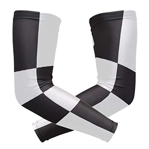 FAJRO - Funda de compresión con diseño de baldosas en blanco y negro con protección UV para deportes al aire libre