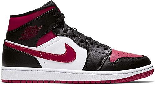 Nike Air Jordan 1 Mid, Zapatillas de básquetbol para Hombre, Black Noble Red White, 45.5 EU