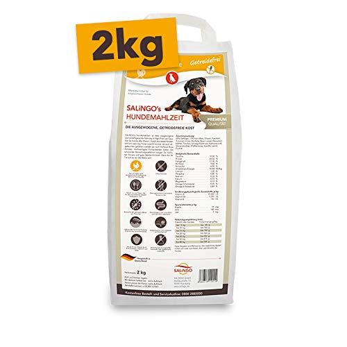 SALiNGO Hochwertiges, gesundes und getreidefreies Hundefutter Trockenfutter I Tierfutter Hundenahrung Alleinfutter Tiernahrung I Geflügel und Gemüse Hundefutter getreidefrei 2 kg