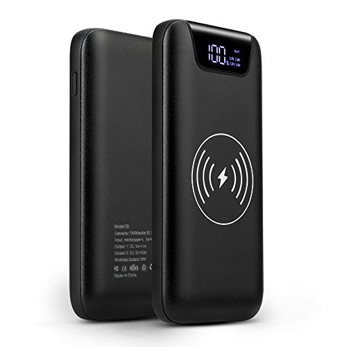 SUNYDEAL Power Bank Wireless, Externer Akku 10000mAh - 2 in 1 Charger Kabelloses, Qi-Ladegerät für iPhone X/8/8Plus, Samsung Galaxy Note 8, S8 / S9 (Schwarz)