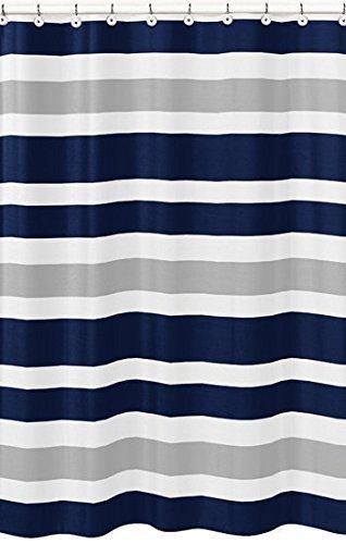 Yogaly Shower Curtain Set Bathroom Decor Navy Blue, Gray and White Kids Bathroom Fabric Bath Teen Stripe Shower Curtain, Extra Long 72(W) x84(L) inch