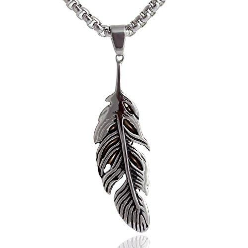 DonDon® Herren Halskette Edelstahl mit Glücksfeder Anhänger und schwarzem Schmuckbeutel