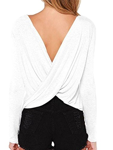 LIREROJE Women's Loose Backless Long Sleeve Top Blouse White X-Small