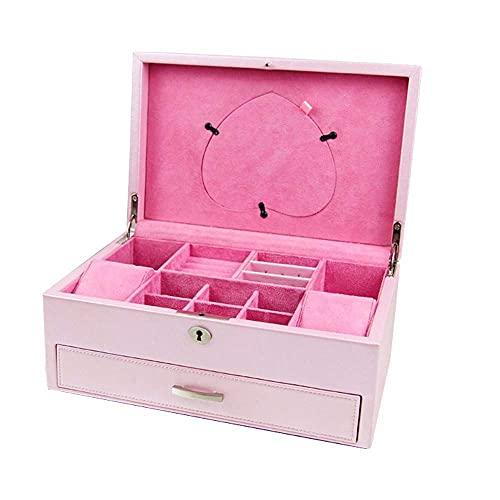 WOZUIMEI Caja Organizadora de Joyas Organizador de Caja de Joyas Rosa Organizador de Caja de Almacenamiento de Joyas de Estilo Princesa con Cerradura Caja de Joyería de 2 Capas para Aretes, Anillos,