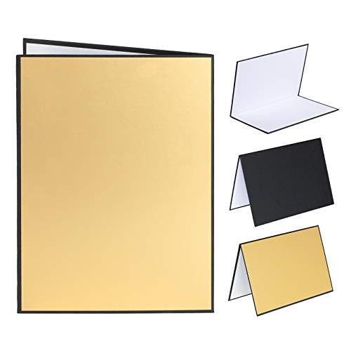 TARION Riflettore di luce in cartone 3 in 1 Riflettore per fotografia alimentare Diffusore di luce pieghevole per riprese fotografiche di still life di prodotti(A3-Gold)