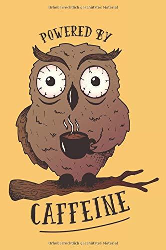 Kaffee Eule: Blanko Notizbuch mit Eulen Cover  120 linierte Seiten   Softcover   ~ A5 Format