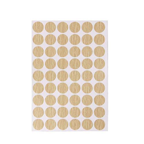 Sourcingmap - Pegatinas autoadhesivas de plástico texturizado para muebles de madera, 21 mm de diámetro, 54 piezas en 1 hoja de roble profundo, PC-132