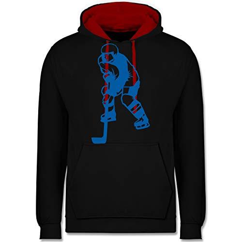 Shirtracer Eishockey - Eishockeyspieler blau - M - Schwarz/Rot - CCM Pullover - JH003 - Hoodie zweifarbig und Kapuzenpullover für Herren und Damen