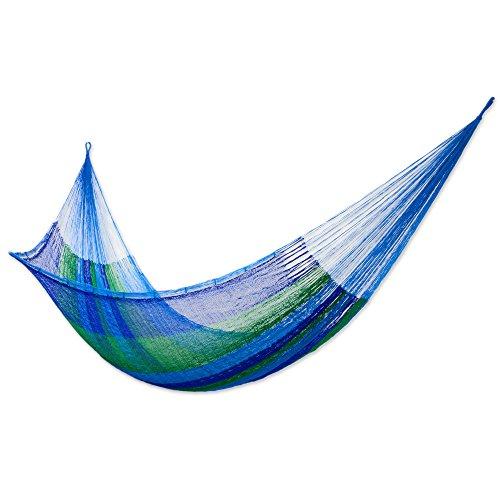 NOVICA - Hamaca de Cuerda para 1 Persona, diseño de Rayas, Color Azul y Verd