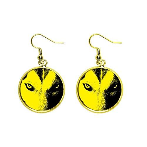 Wolf Wild Eye Art Deco Gift Fashion Ear Dangle Golden Drop Earring Jewelry Woman