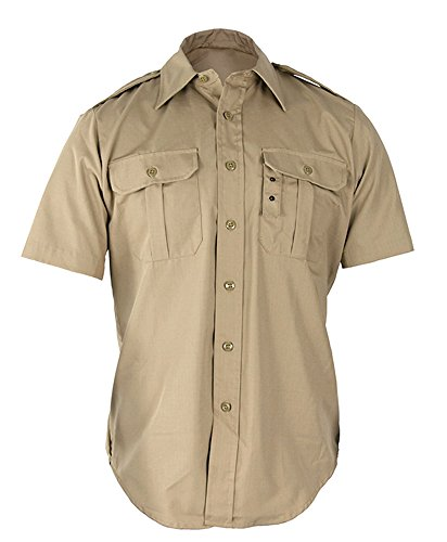 Propper Men's Short Sleeve Tactical Dress Shirt, Khaki, Medium