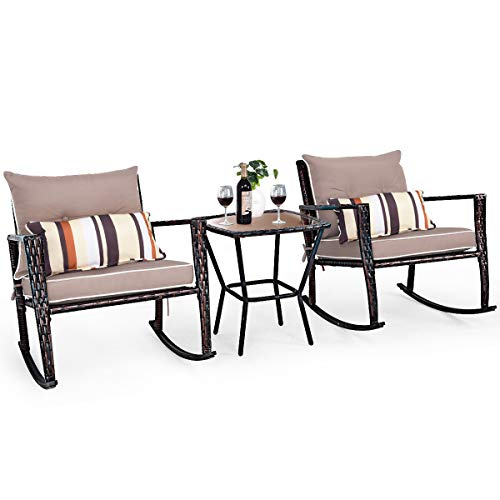 CASART. 3 PCS Patio Rocking Wicker Bistro Set Outdoor Rattan Wicker Furniture Set, Garden Rocker Chair Set with Glass Top Coffee Table & Waterproof and Removable Cushions (Brown)