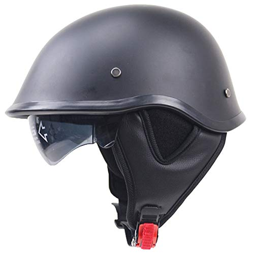 Moto Helmets-Braincap Wehrmacht Stahl Halbschalen Motorrad Vespa Roller Jet Bobber Helm Pilot Cruiser Vintage Moped Chopper Helm Biker Retro DOT Zertifiziert,M