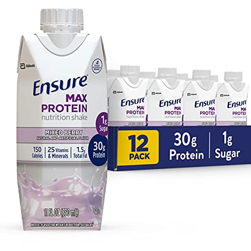 Ensure Max Protein Nutritional Shake with 30g of High-Quality Protein, 1g of Sugar, High Protein Shake, Mixed Berry, 11 Fl Oz (Pack of 12), 132 Fl Oz