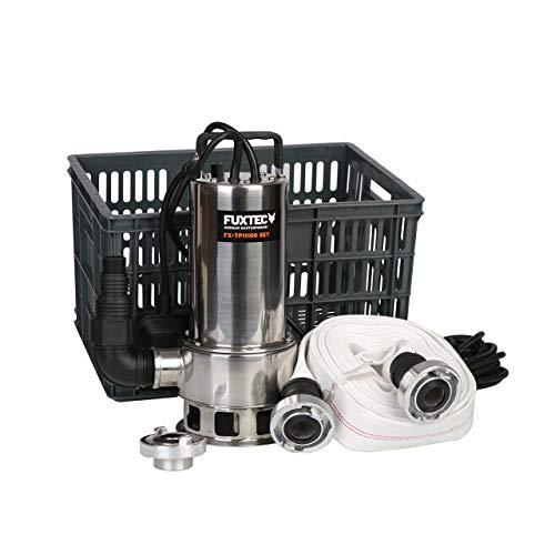FUXTEC Wasserpumpe FX-TP11100 SET Notfallset mit Schmutzwasserpumpe/Tauchpumpe 1100 Watt, max. 20000 l/h, max. 11 m Förderhöhe, Fremdkörper bis 35 mm, integrierter Schwimmerschalter