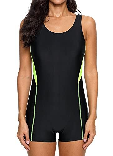 beautyin Women's Sport One Piece Boyshort Swimsuit Athletic Racerback Swimwear M Black/Yellow