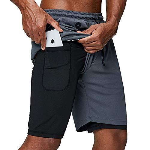 EVR Hombres Pantalónes Cortos de Running 2-en-1, Pantalones Cortos de Atletismo/Pantalones Cortos de Fitness Maratón, Transpirable Pantalones+Secado Rápido,Gris,M