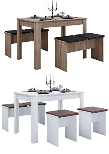 VCM Tischgruppe Sitzgruppe Essgruppe Holztisch Esstisch Tisch Esal XXL Sonoma-Eiche