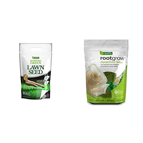 Plantworks Ltd Empathy 1Kg Supreme Lawn Seed with Rootgrow & RG360 Empathy RHS Endorsed 360g Rootgrow Mycorrhizal Fungi
