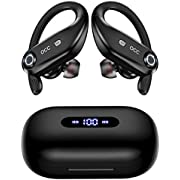 Bluetooth Headphones 4-Mics Call Noise Reduction 64Hrs Occiam Wireless Earbuds IPX7 Waterproof Over Ear Earphones with 2200mAh Charging Case as Power Bank for Sports Running Gaming Workout