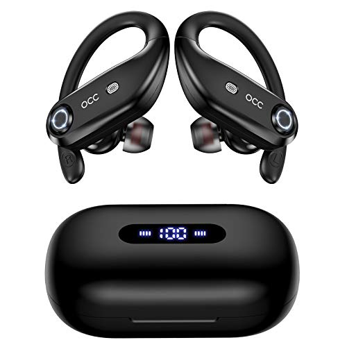 Bluetooth Headphones 4-Mics Call Noise Cancelling 64Hrs Occiam Wireless Earbuds IPX7 Waterproof Over Ear Earphones with 2200mAh Charging Case as Power Bank for Sports Running Gaming Workout